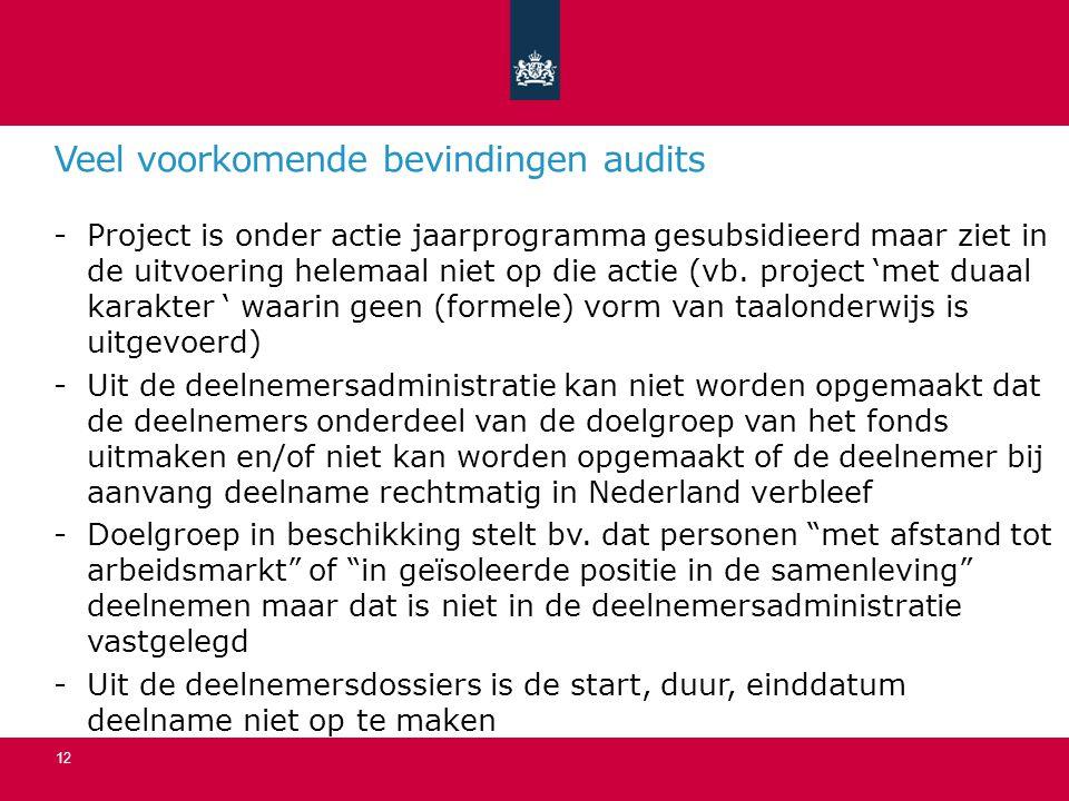 Veel voorkomende bevindingen audits -Project is onder actie jaarprogramma gesubsidieerd maar ziet in de uitvoering helemaal niet op die actie (vb.