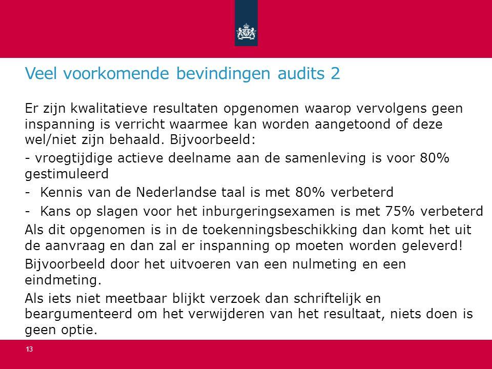 Veel voorkomende bevindingen audits 2 Er zijn kwalitatieve resultaten opgenomen waarop vervolgens geen inspanning is verricht waarmee kan worden aangetoond of deze wel/niet zijn behaald.