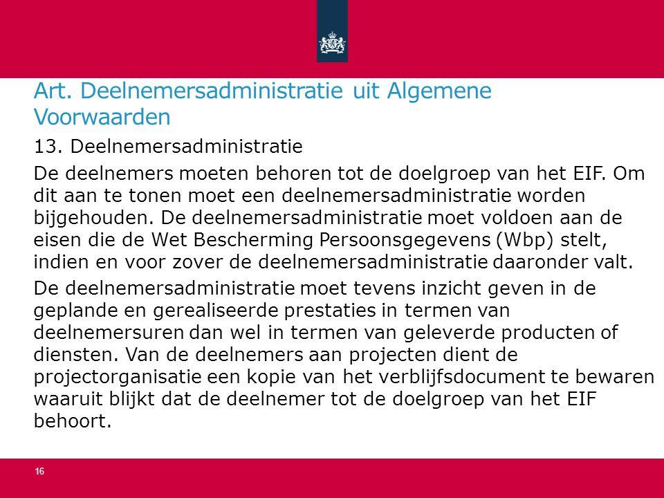Art.Deelnemersadministratie uit Algemene Voorwaarden 13.