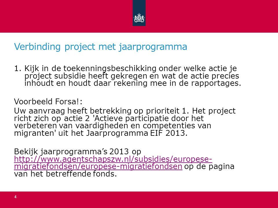 Verbinding project met jaarprogramma 1.Kijk in de toekenningsbeschikking onder welke actie je project subsidie heeft gekregen en wat de actie precies inhoudt en houdt daar rekening mee in de rapportages.