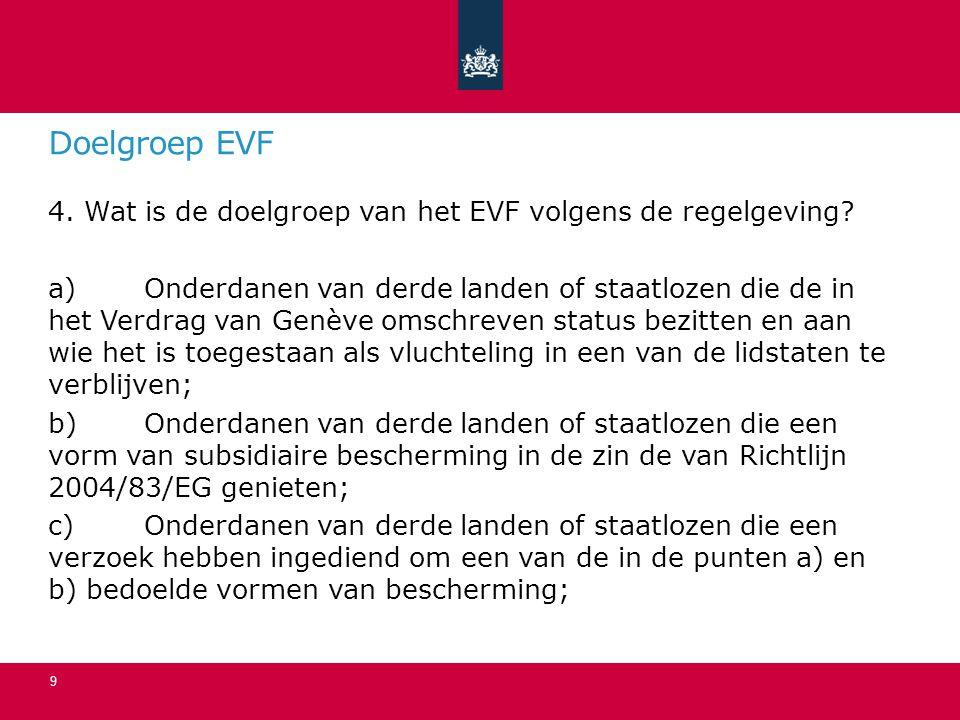 Doelgroep EVF vervolg d)Onderdanen van derde landen of staatlozen die onder een regeling inzake tijdelijke bescherming in de zin van Richtlijn 2001/55/EG vallen; e)Onderdanen van derde landen of straatlozen die worden of werden hervestigd naar een lidstaat.