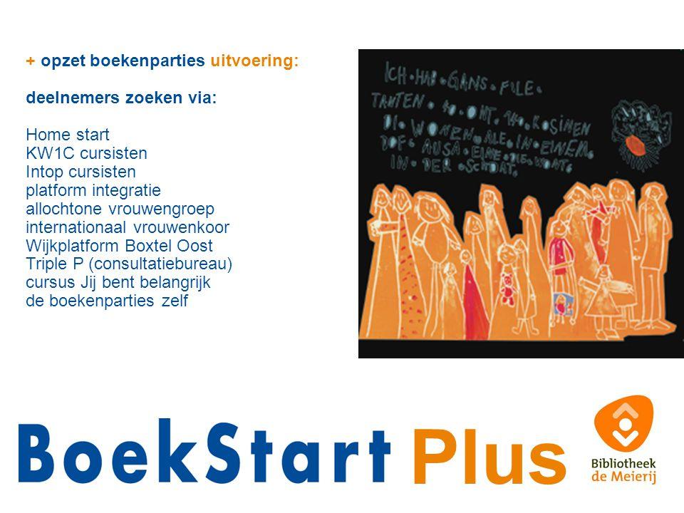 Plus + opzet boekenparties uitvoering: deelnemers zoeken via: Home start KW1C cursisten Intop cursisten platform integratie allochtone vrouwengroep in