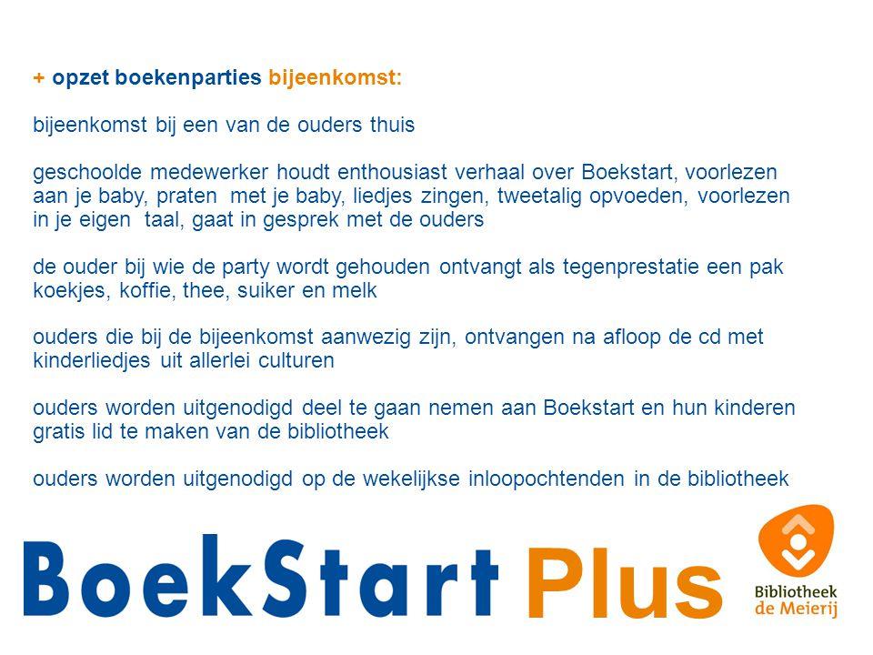 Plus + opzet boekenparties bijeenkomst: bijeenkomst bij een van de ouders thuis geschoolde medewerker houdt enthousiast verhaal over Boekstart, voorle
