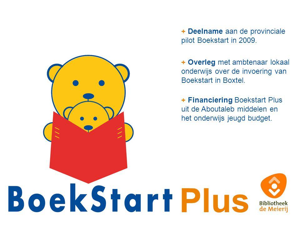 + Deelname aan de provinciale pilot Boekstart in 2009. + Overleg met ambtenaar lokaal onderwijs over de invoering van Boekstart in Boxtel. + Financier