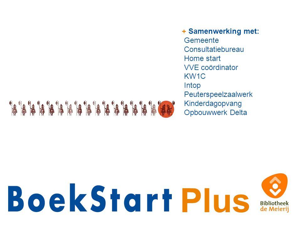 Plus + Samenwerking met: Gemeente Consultatiebureau Home start VVE coördinator KW1C Intop Peuterspeelzaalwerk Kinderdagopvang Opbouwwerk Delta