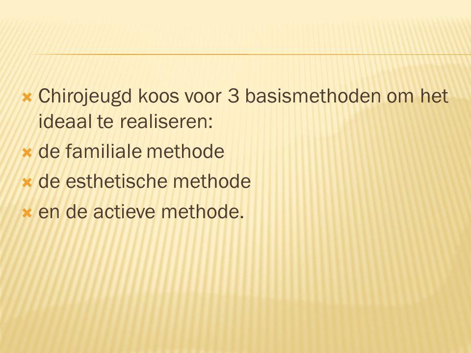  Chirojeugd koos voor 3 basismethoden om het ideaal te realiseren:  de familiale methode  de esthetische methode  en de actieve methode.