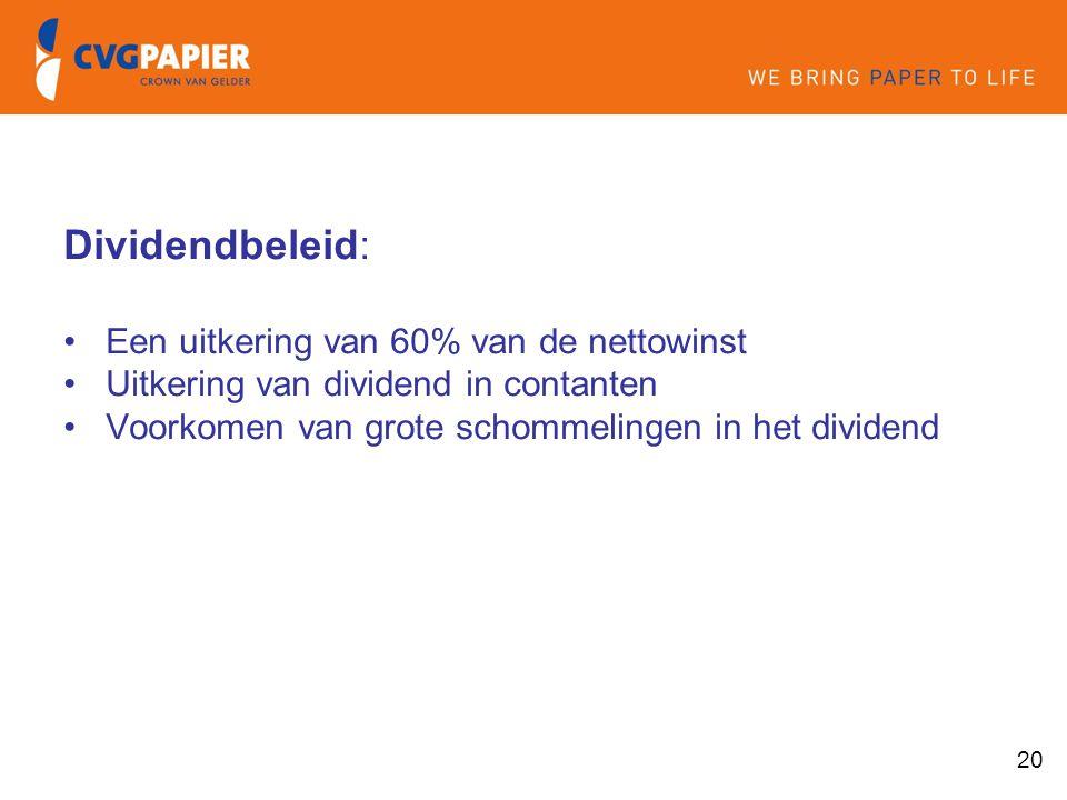 20 Dividendbeleid: Een uitkering van 60% van de nettowinst Uitkering van dividend in contanten Voorkomen van grote schommelingen in het dividend