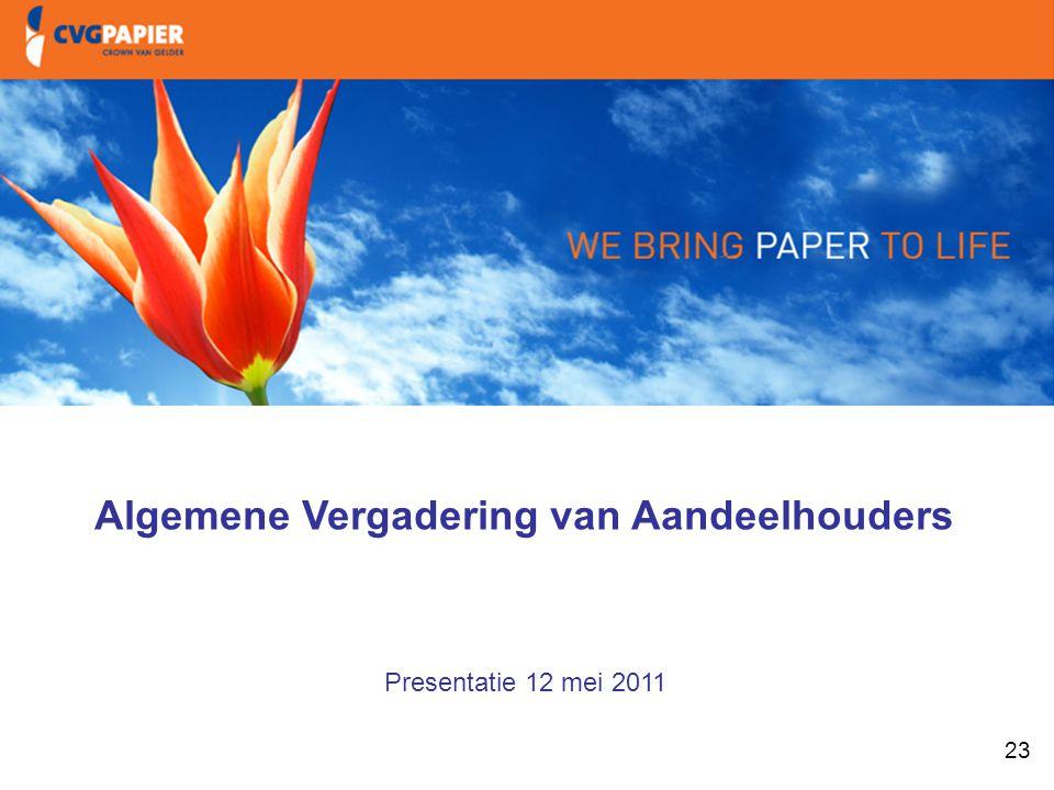 23 1. Intro & doelstellingen Algemene Vergadering van Aandeelhouders Presentatie 12 mei 2011