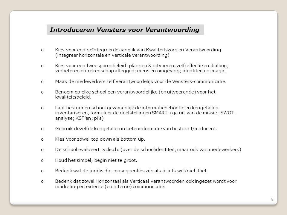 9 oKies voor een geïntegreerde aanpak van Kwaliteitszorg en Verantwoording.