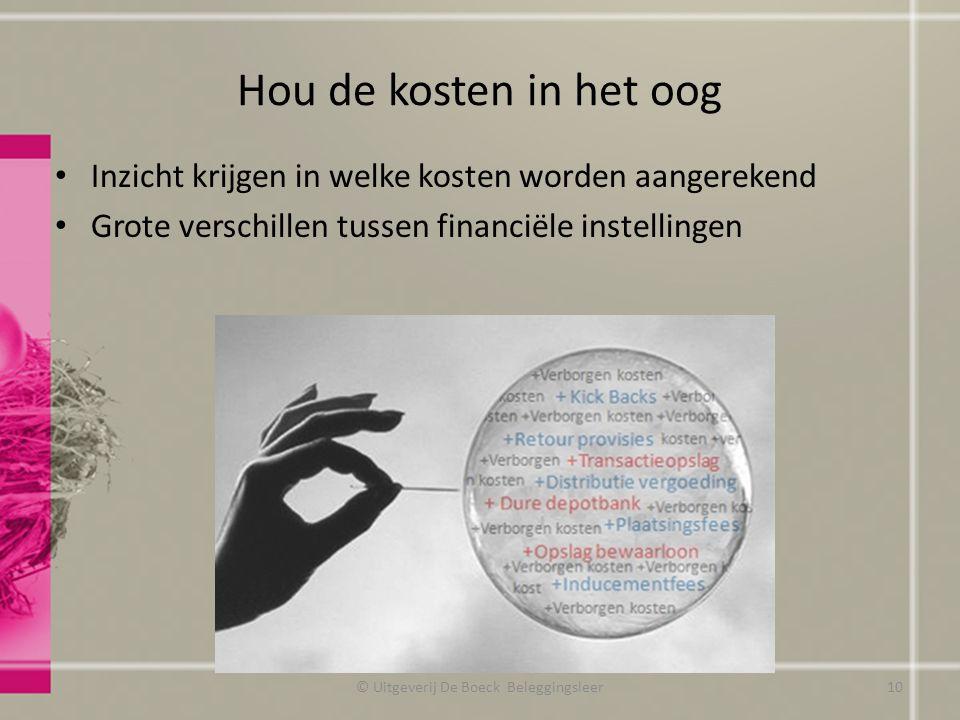 Hou de kosten in het oog Inzicht krijgen in welke kosten worden aangerekend Grote verschillen tussen financiële instellingen © Uitgeverij De Boeck Bel