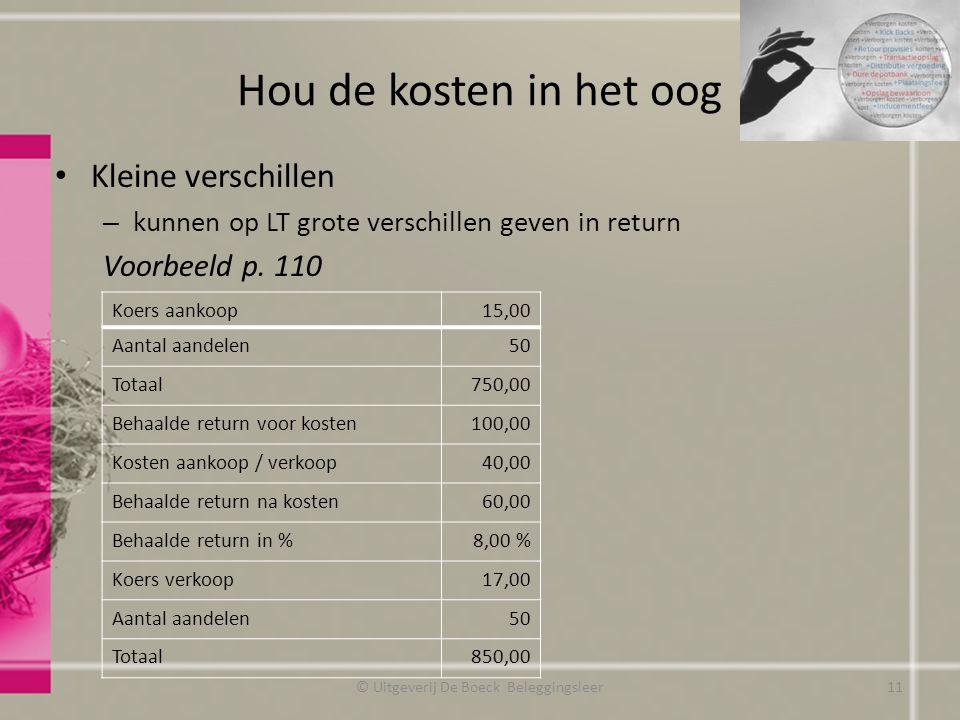 Hou de kosten in het oog Kleine verschillen – kunnen op LT grote verschillen geven in return Voorbeeld p. 110 © Uitgeverij De Boeck Beleggingsleer Koe