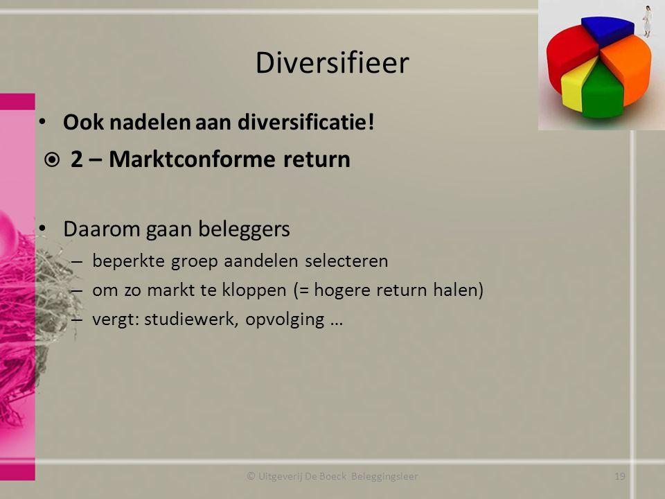 Diversifieer Ook nadelen aan diversificatie!  2 – Marktconforme return Daarom gaan beleggers – beperkte groep aandelen selecteren – om zo markt te kl