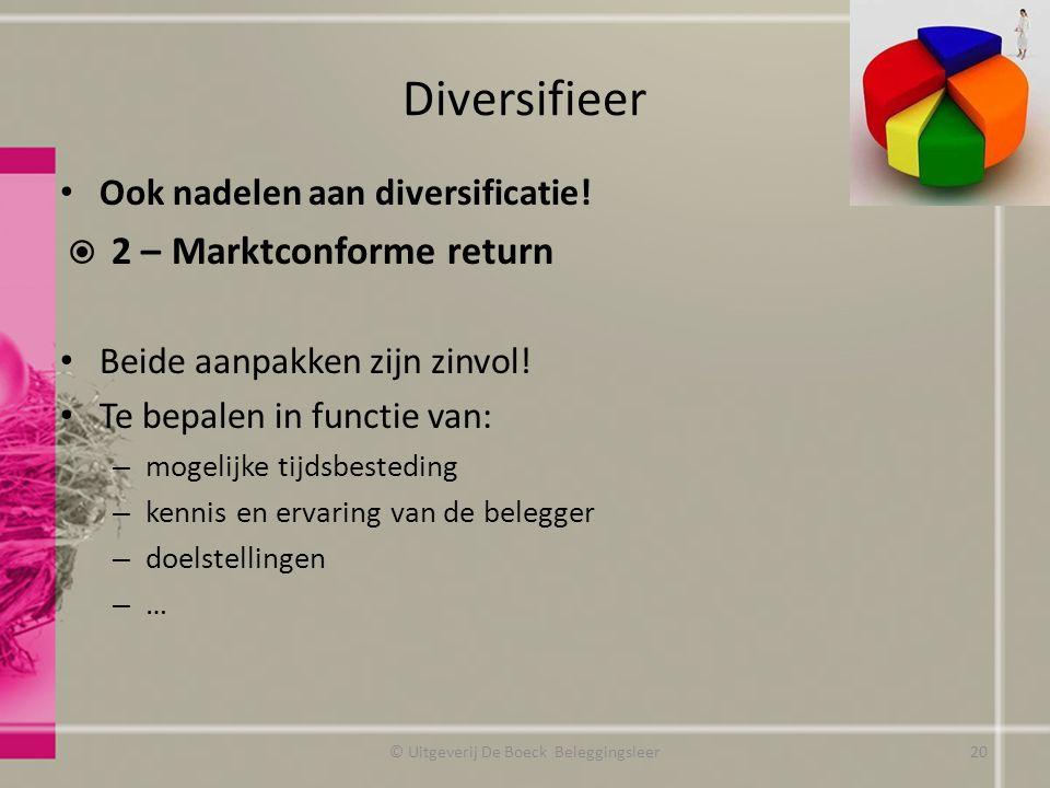 Diversifieer Ook nadelen aan diversificatie!  2 – Marktconforme return Beide aanpakken zijn zinvol! Te bepalen in functie van: – mogelijke tijdsbeste