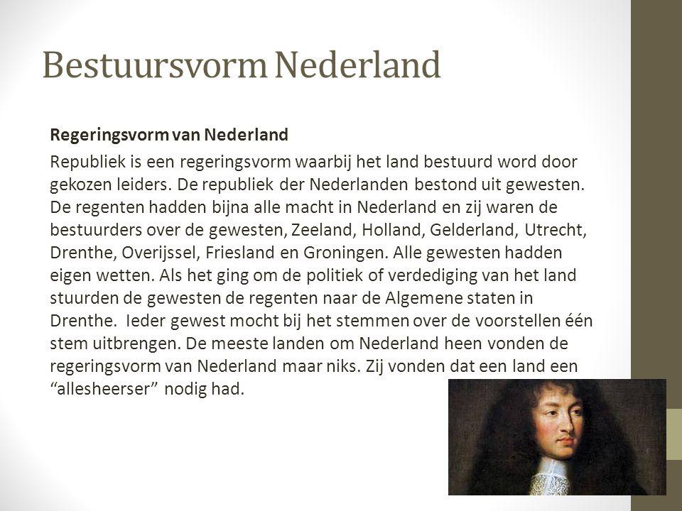 Bestuursvorm Nederland Regeringsvorm van Nederland Republiek is een regeringsvorm waarbij het land bestuurd word door gekozen leiders. De republiek de