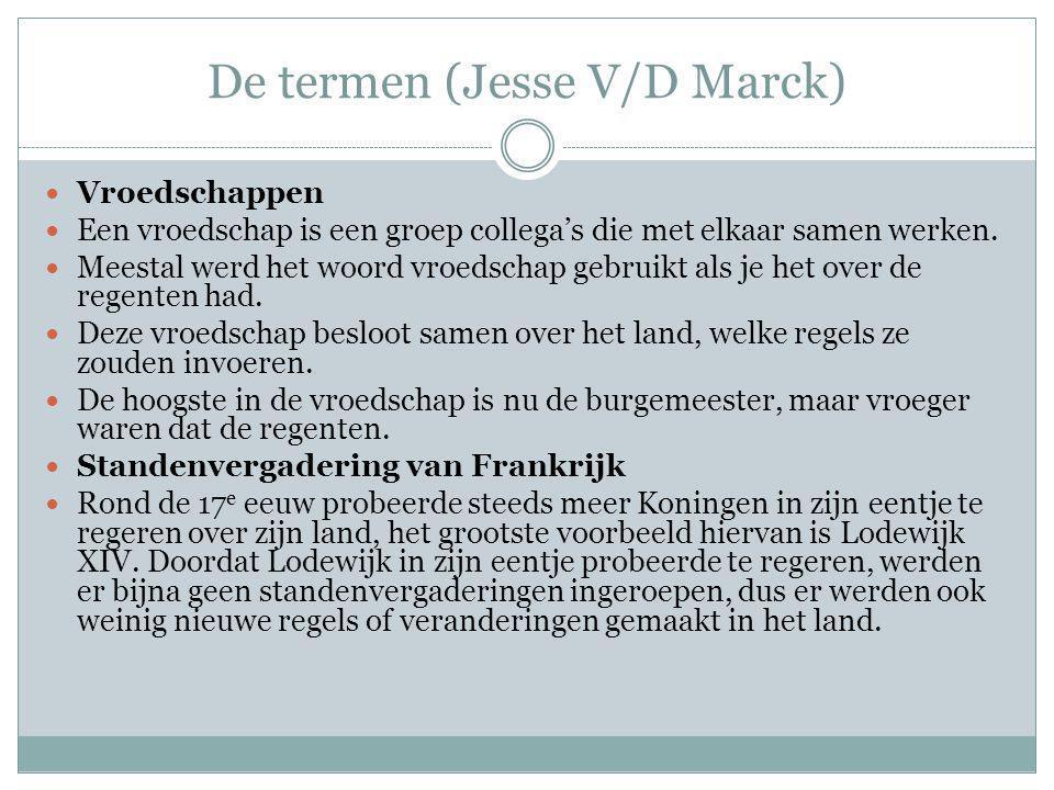 De termen (Jesse Klemans) Regenten: De term regenten wordt gebruikt voor Nederlandse bestuurders uit de 17de en 18de eeuw.