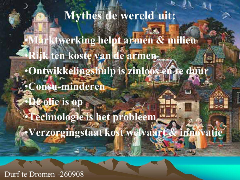 Durf te Dromen -260908 Mythes de wereld uit: Marktwerking helpt armen & milieu Rijk ten koste van de armen Ontwikkelingshulp is zinloos en te duur Con
