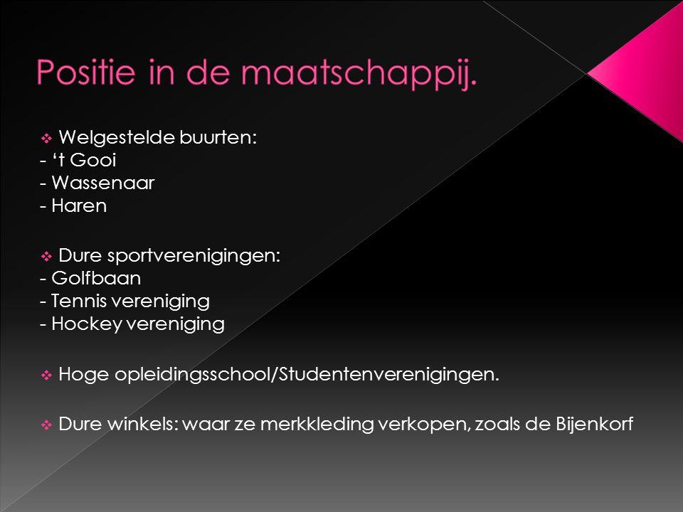  Welgestelde buurten: - 't Gooi - Wassenaar - Haren  Dure sportverenigingen: - Golfbaan - Tennis vereniging - Hockey vereniging  Hoge opleidingssch