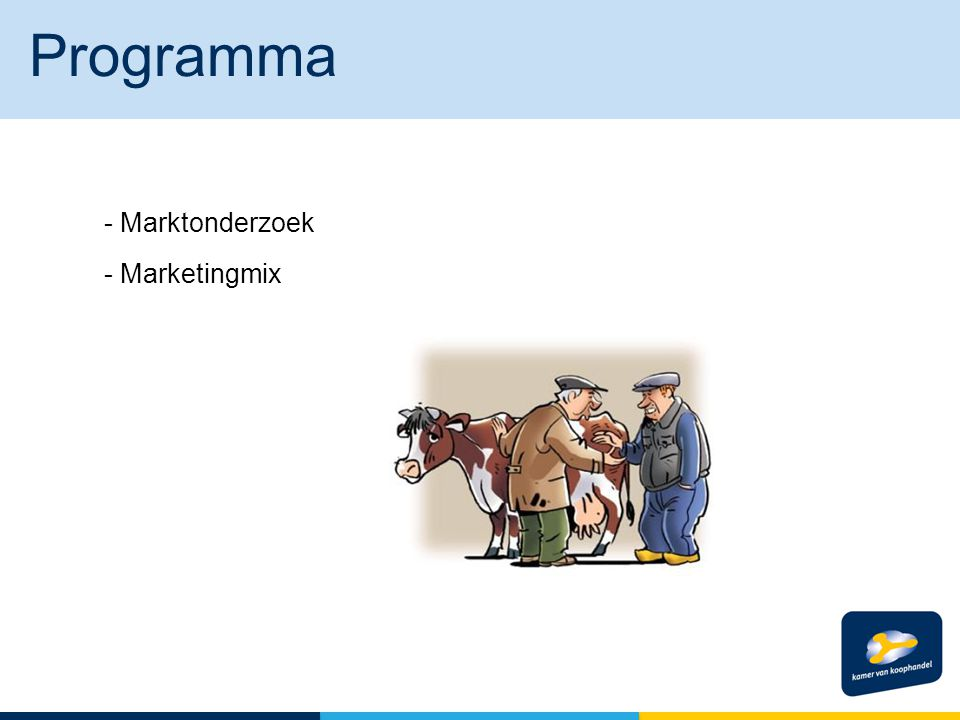 Programma - Marktonderzoek - Marketingmix
