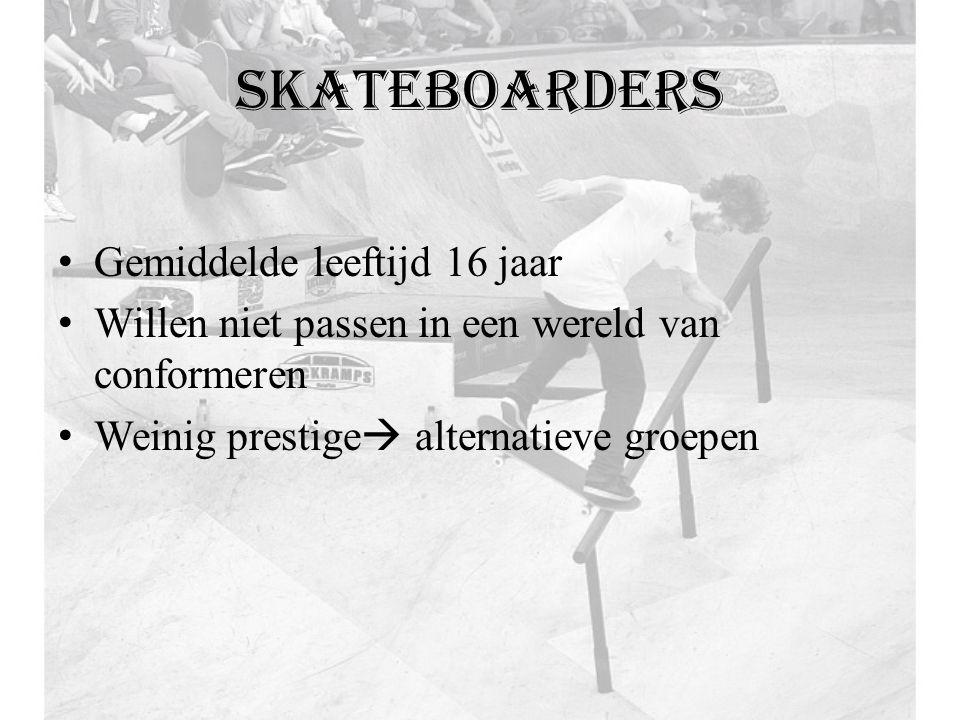 skateboarders Gemiddelde leeftijd 16 jaar Willen niet passen in een wereld van conformeren Weinig prestige  alternatieve groepen