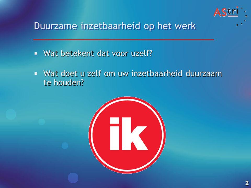 1 Duurzame inzetbaarheid van medewerkers binnen gemeenten Bijeenkomst lerend netwerk 28 september 2010 Bart de Zwart AStri Beleidsonderzoek en –advies | b.dezwart@astri.nl | www.astri.nl |