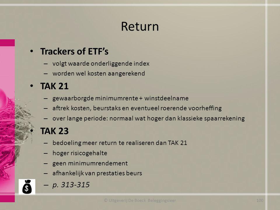 Return Trackers of ETF's – volgt waarde onderliggende index – worden wel kosten aangerekend TAK 21 – gewaarborgde minimumrente + winstdeelname – aftre