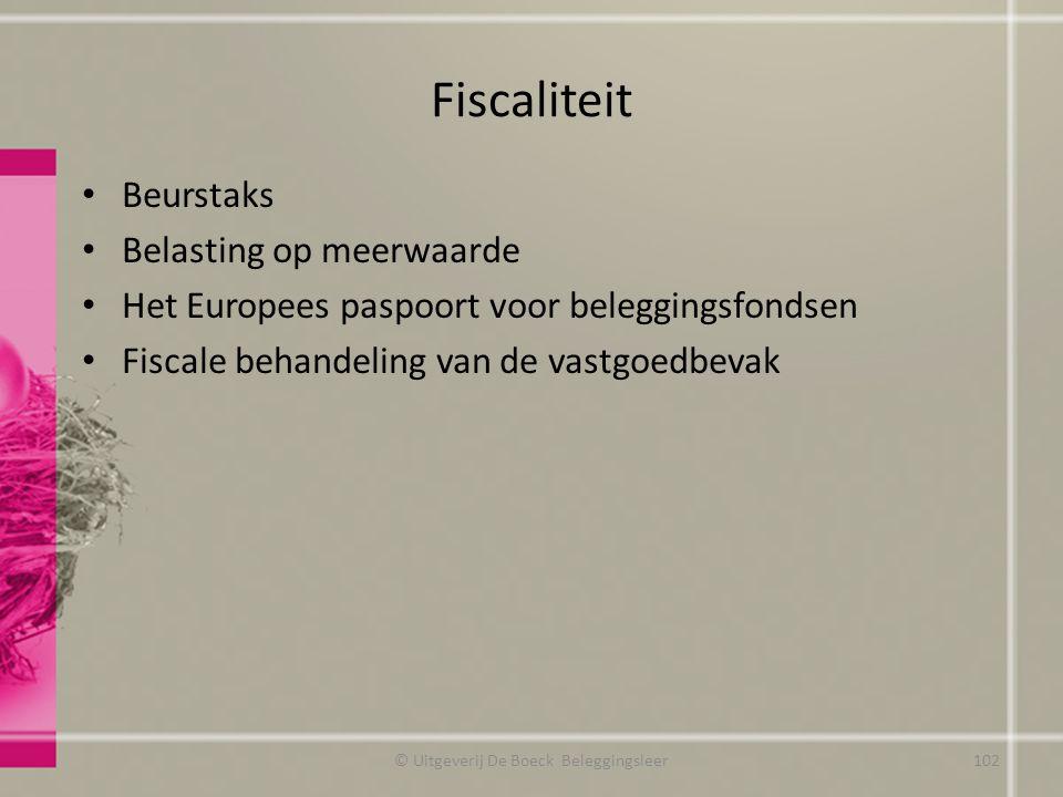 Fiscaliteit Beurstaks Belasting op meerwaarde Het Europees paspoort voor beleggingsfondsen Fiscale behandeling van de vastgoedbevak © Uitgeverij De Bo