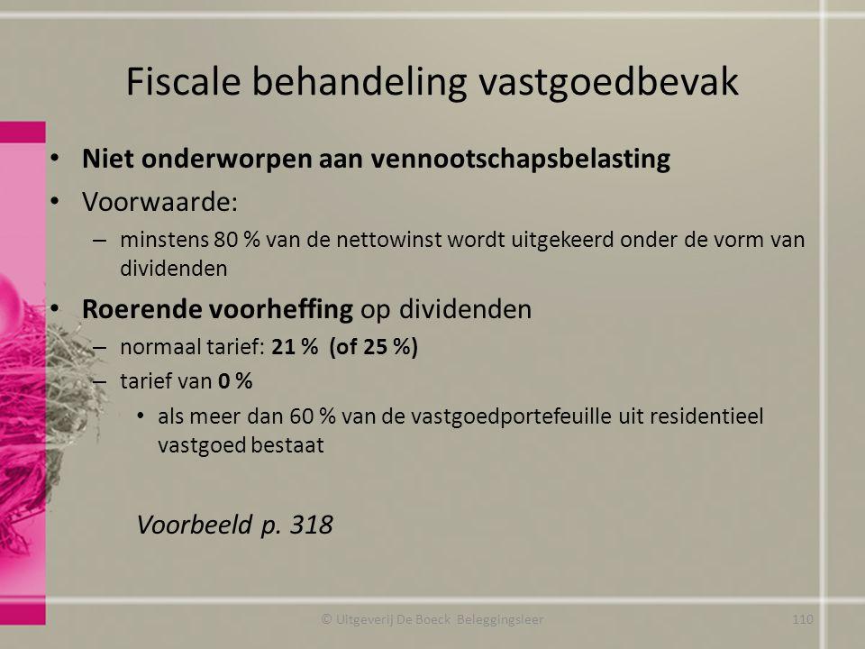Fiscale behandeling vastgoedbevak Niet onderworpen aan vennootschapsbelasting Voorwaarde: – minstens 80 % van de nettowinst wordt uitgekeerd onder de