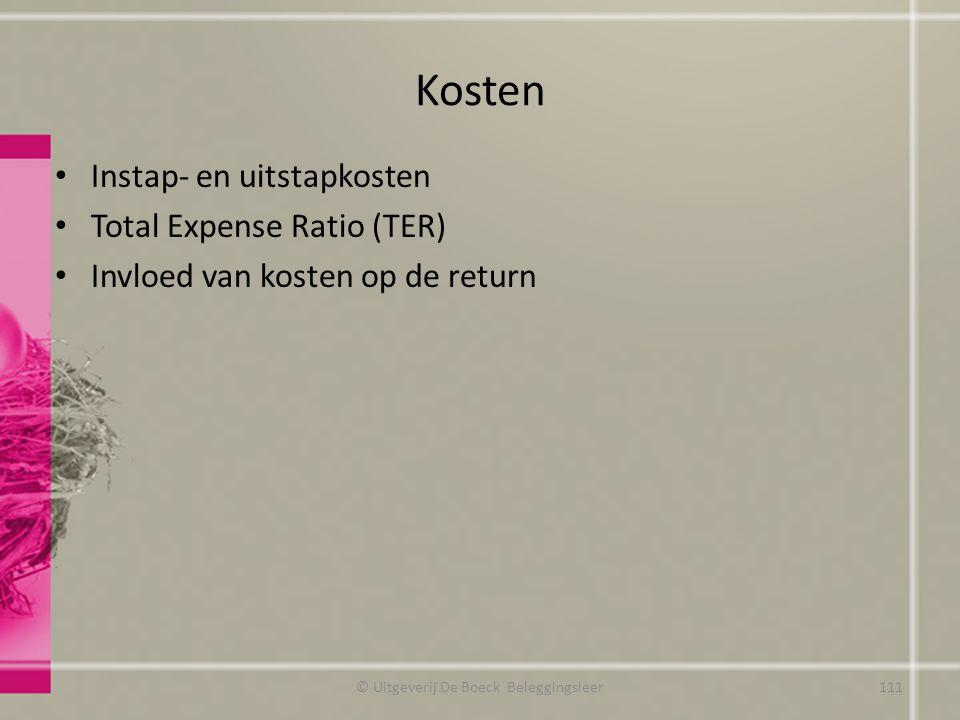 Kosten Instap- en uitstapkosten Total Expense Ratio (TER) Invloed van kosten op de return © Uitgeverij De Boeck Beleggingsleer111