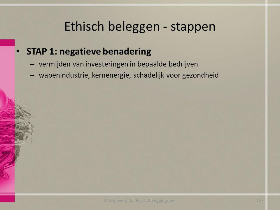 Ethisch beleggen - stappen STAP 1: negatieve benadering – vermijden van investeringen in bepaalde bedrijven – wapenindustrie, kernenergie, schadelijk