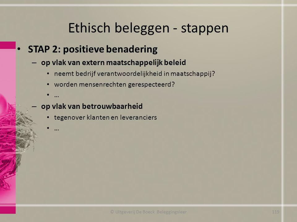 Ethisch beleggen - stappen STAP 2: positieve benadering – op vlak van extern maatschappelijk beleid neemt bedrijf verantwoordelijkheid in maatschappij