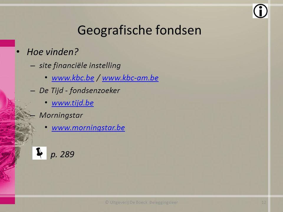 Geografische fondsen Hoe vinden? – site financiële instelling www.kbc.be / www.kbc-am.be www.kbc.bewww.kbc-am.be – De Tijd - fondsenzoeker www.tijd.be