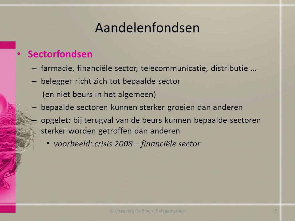 Aandelenfondsen Sectorfondsen – farmacie, financiële sector, telecommunicatie, distributie … – belegger richt zich tot bepaalde sector (en niet beurs