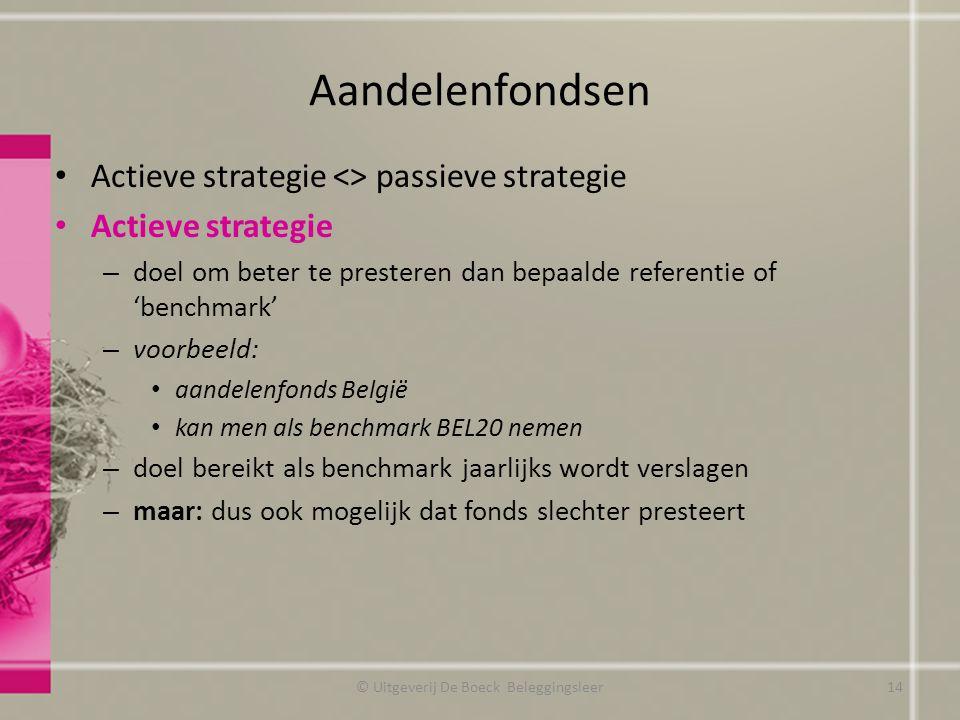 Aandelenfondsen Actieve strategie <> passieve strategie Actieve strategie – doel om beter te presteren dan bepaalde referentie of 'benchmark' – voorbe