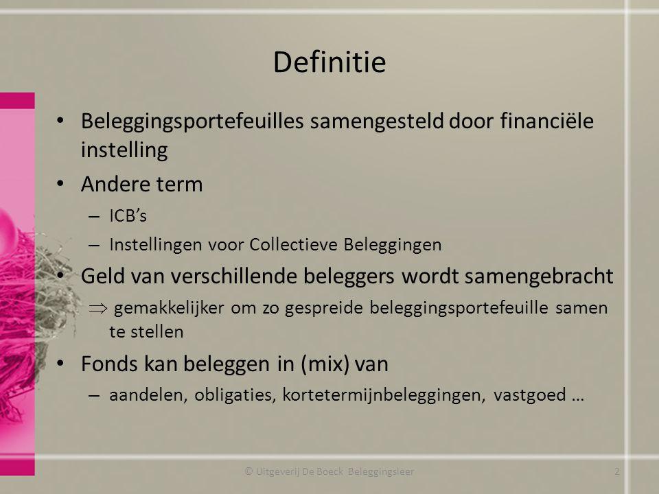 Definitie Beleggingsportefeuilles samengesteld door financiële instelling Andere term – ICB's – Instellingen voor Collectieve Beleggingen Geld van ver