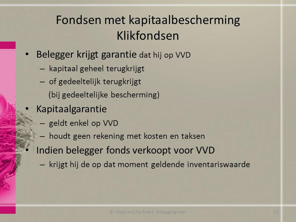 Fondsen met kapitaalbescherming Klikfondsen Belegger krijgt garantie dat hij op VVD – kapitaal geheel terugkrijgt – of gedeeltelijk terugkrijgt (bij g