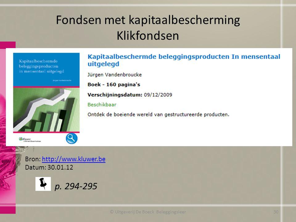 Fondsen met kapitaalbescherming Klikfondsen © Uitgeverij De Boeck Beleggingsleer Bron: http://www.kluwer.behttp://www.kluwer.be Datum: 30.01.12 p. 294