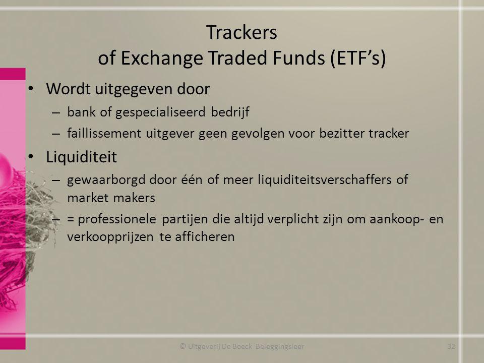 Trackers of Exchange Traded Funds (ETF's) Wordt uitgegeven door – bank of gespecialiseerd bedrijf – faillissement uitgever geen gevolgen voor bezitter