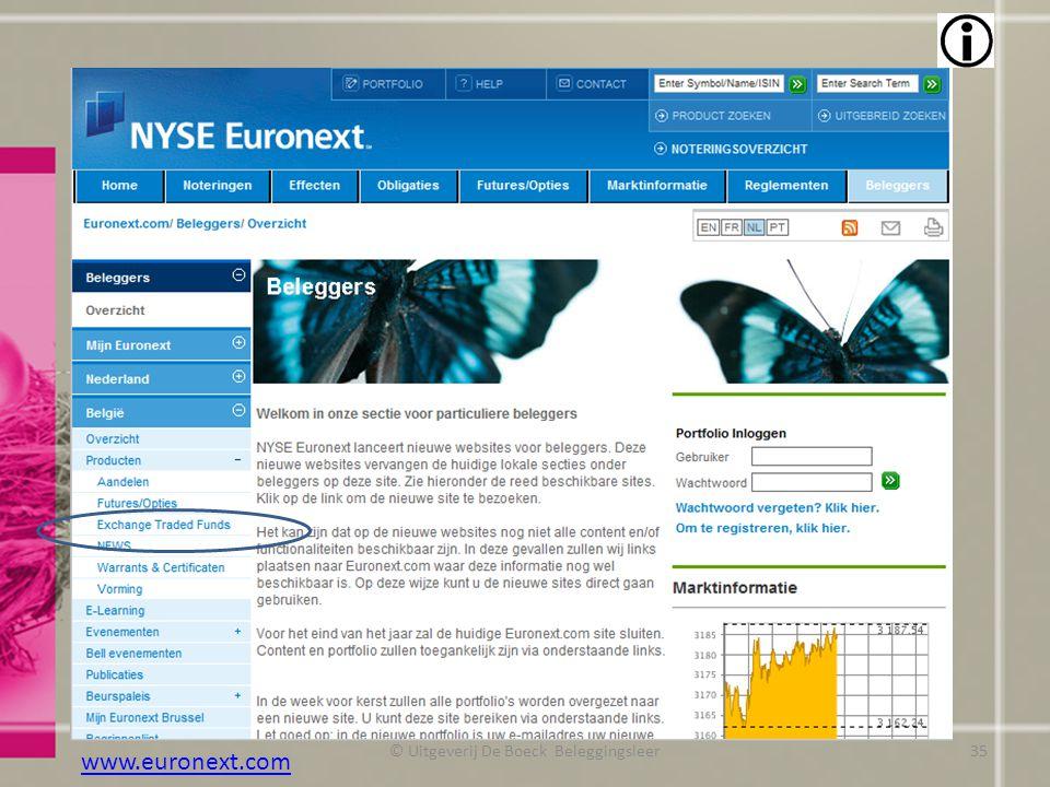 © Uitgeverij De Boeck Beleggingsleer www.euronext.com 35