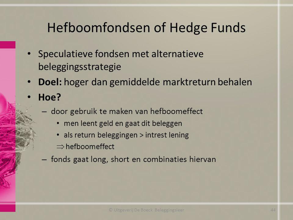 Hefboomfondsen of Hedge Funds Speculatieve fondsen met alternatieve beleggingsstrategie Doel: hoger dan gemiddelde marktreturn behalen Hoe? – door geb