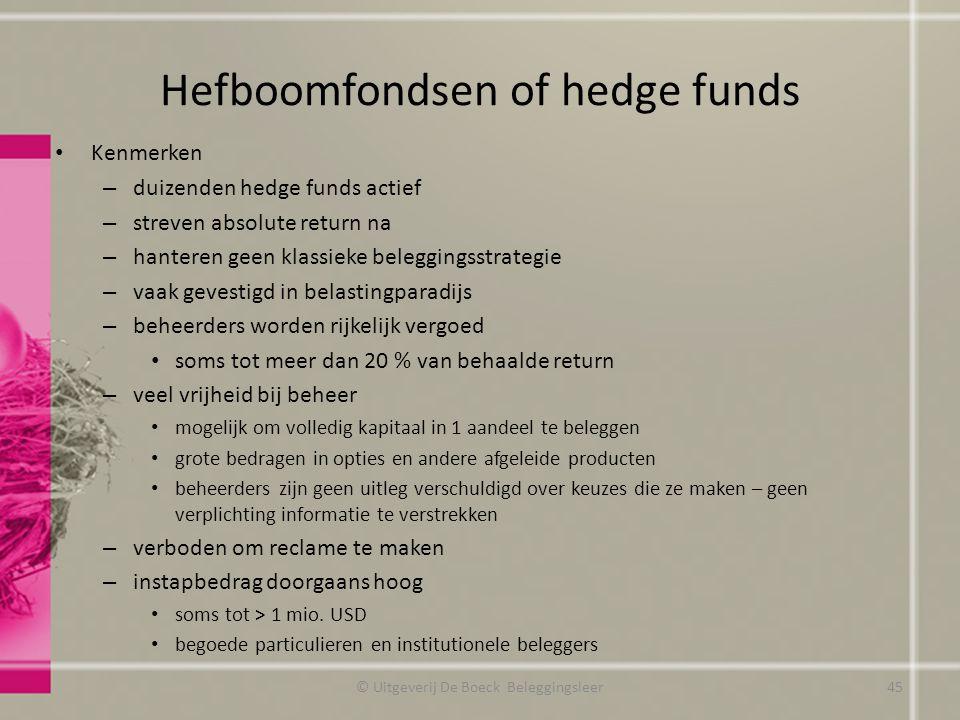 Hefboomfondsen of hedge funds Kenmerken – duizenden hedge funds actief – streven absolute return na – hanteren geen klassieke beleggingsstrategie – va