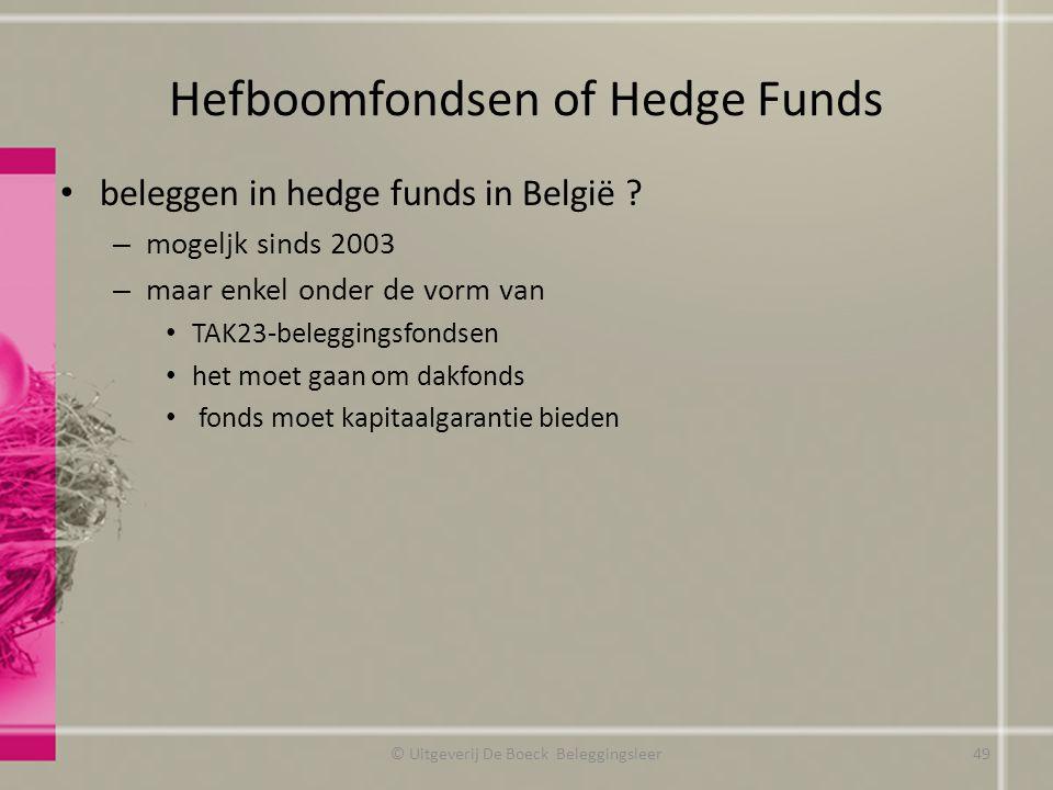 Hefboomfondsen of Hedge Funds beleggen in hedge funds in België ? – mogeljk sinds 2003 – maar enkel onder de vorm van TAK23-beleggingsfondsen het moet