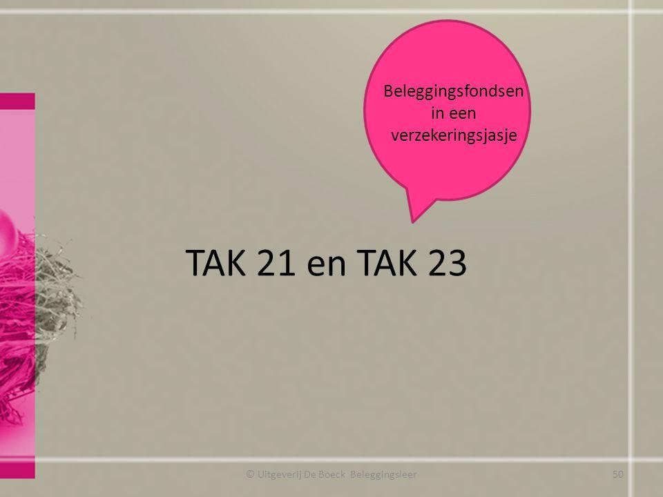 TAK 21 en TAK 23 © Uitgeverij De Boeck Beleggingsleer Beleggingsfondsen in een verzekeringsjasje 50