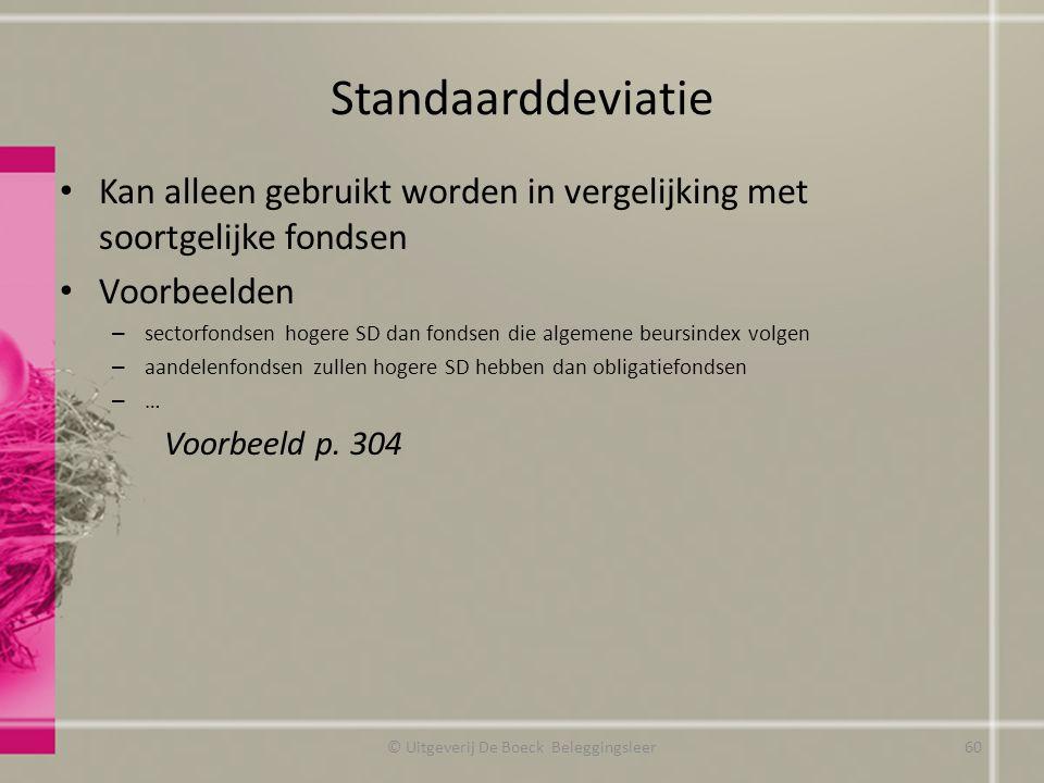 Standaarddeviatie Kan alleen gebruikt worden in vergelijking met soortgelijke fondsen Voorbeelden – sectorfondsen hogere SD dan fondsen die algemene b