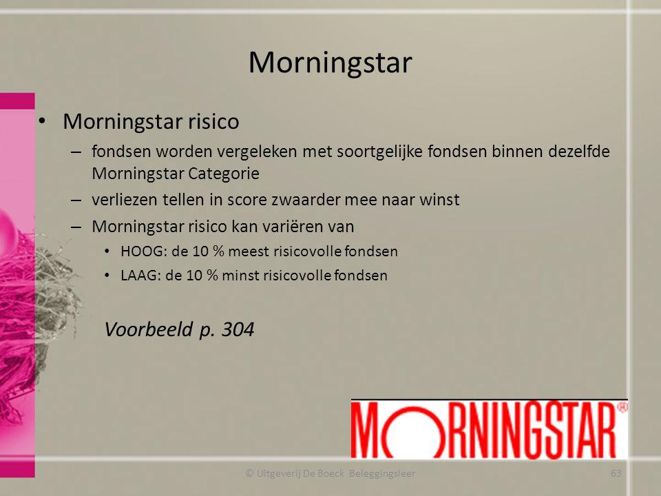 Morningstar Morningstar risico – fondsen worden vergeleken met soortgelijke fondsen binnen dezelfde Morningstar Categorie – verliezen tellen in score