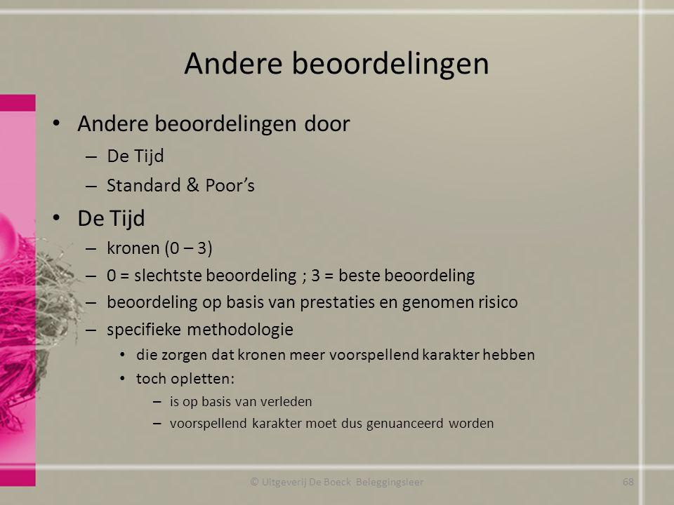 Andere beoordelingen Andere beoordelingen door – De Tijd – Standard & Poor's De Tijd – kronen (0 – 3) – 0 = slechtste beoordeling ; 3 = beste beoordel