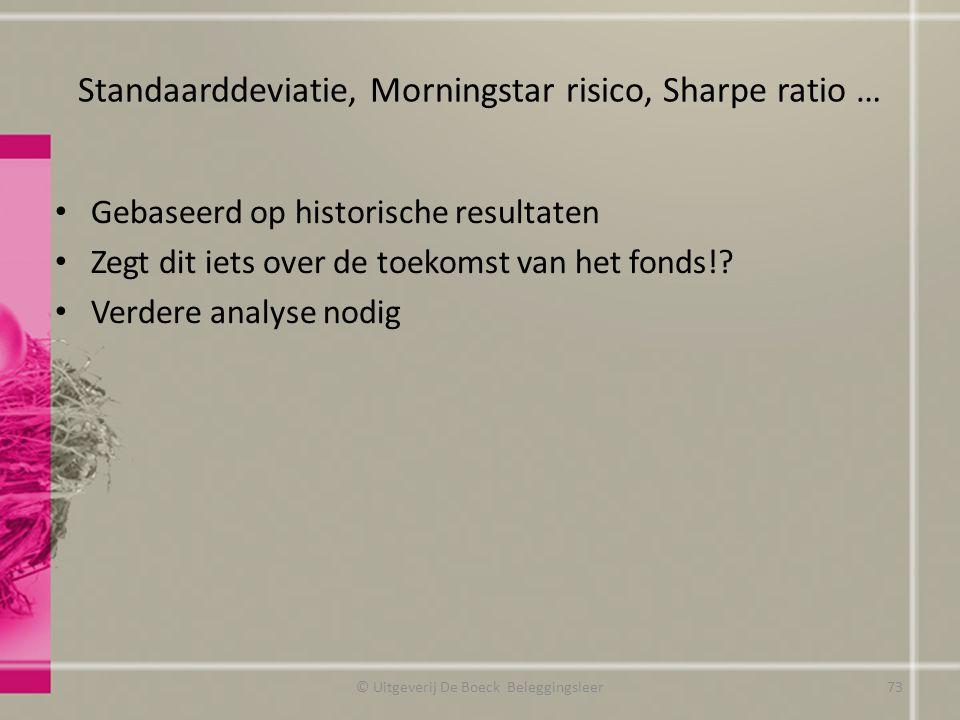 Standaarddeviatie, Morningstar risico, Sharpe ratio … Gebaseerd op historische resultaten Zegt dit iets over de toekomst van het fonds!? Verdere analy