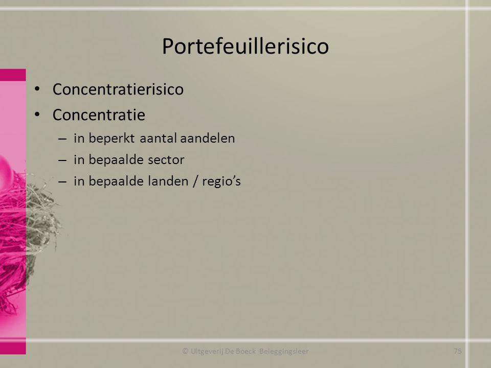 Portefeuillerisico Concentratierisico Concentratie – in beperkt aantal aandelen – in bepaalde sector – in bepaalde landen / regio's © Uitgeverij De Bo