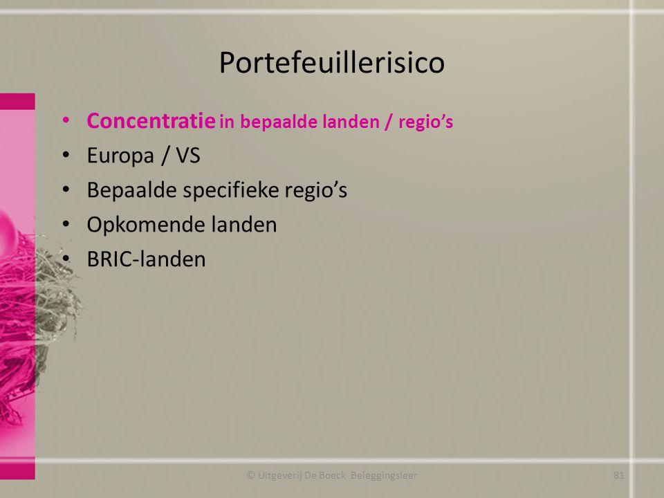 Portefeuillerisico Concentratie in bepaalde landen / regio's Europa / VS Bepaalde specifieke regio's Opkomende landen BRIC-landen © Uitgeverij De Boec