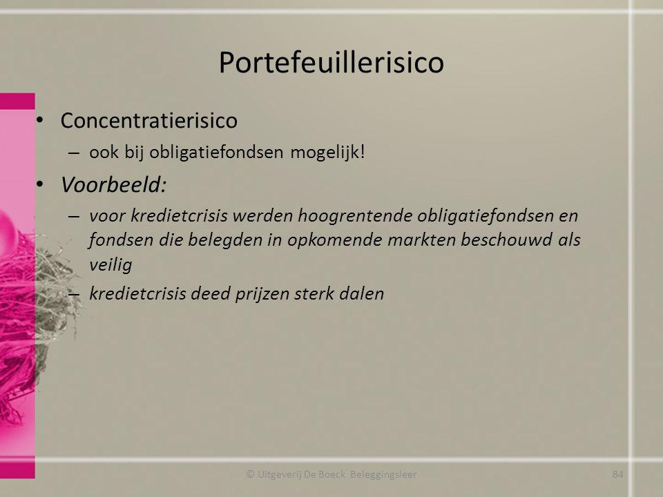 Portefeuillerisico Concentratierisico – ook bij obligatiefondsen mogelijk! Voorbeeld: – voor kredietcrisis werden hoogrentende obligatiefondsen en fon