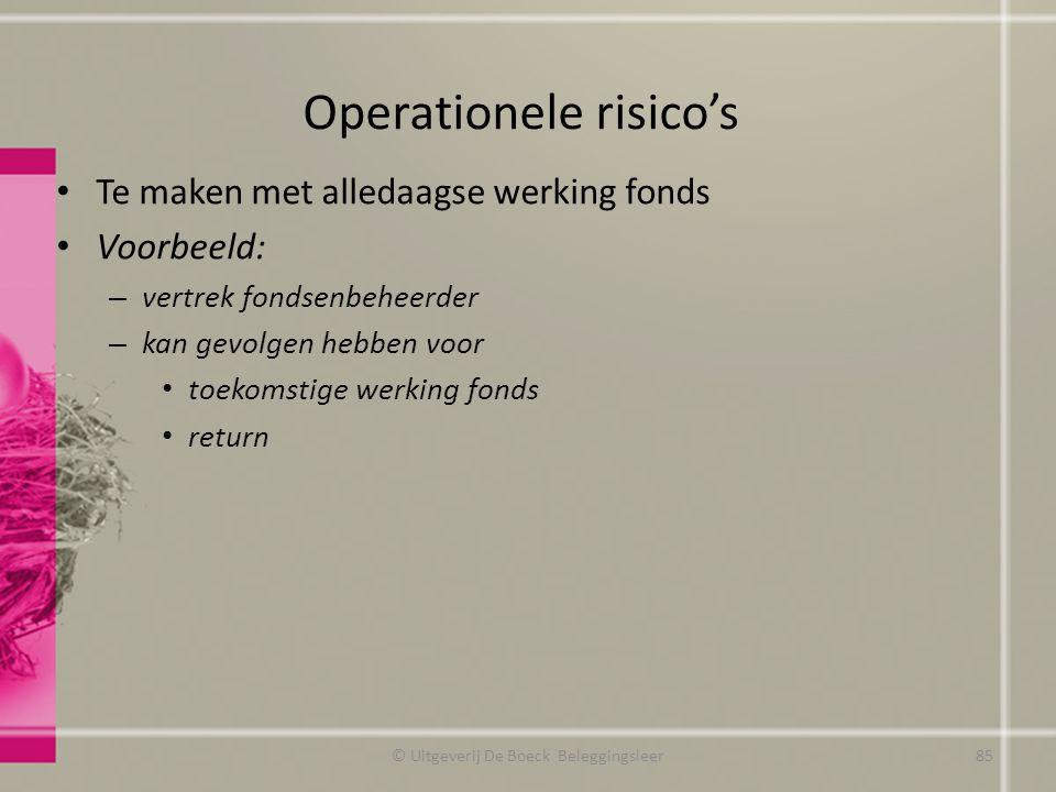 Operationele risico's Te maken met alledaagse werking fonds Voorbeeld: – vertrek fondsenbeheerder – kan gevolgen hebben voor toekomstige werking fonds